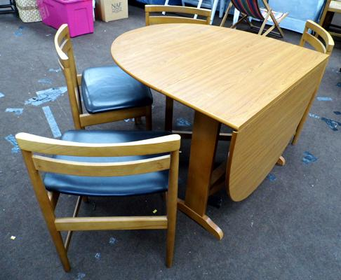 Folding dining table and four chairs