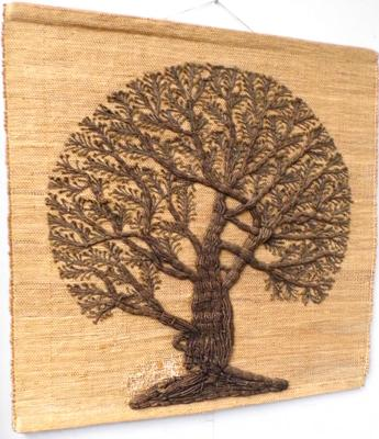 Rustic woven wall hanging of a tree