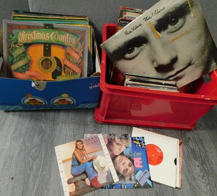 2 x boxes of LP albums & some singles
