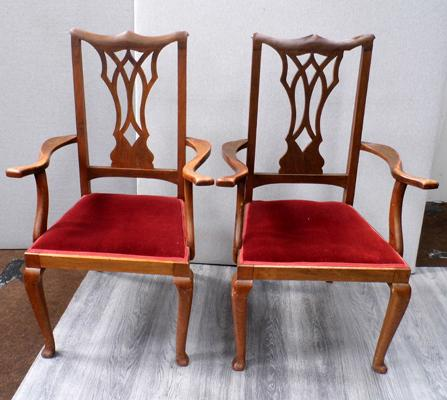 Two large vintage entrance chairs