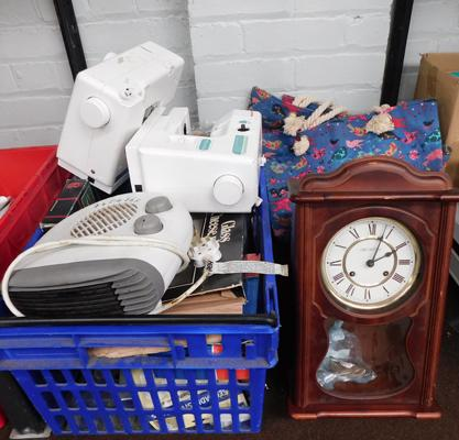 Box of misc electricals including Janome Sewing Machines, heater etc.