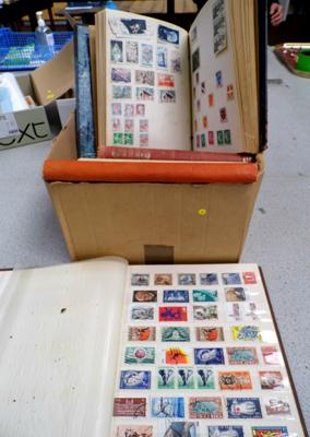 Box of stamp albums and other stamps