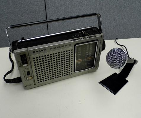 Sanyo vintage radio receiver and microphone
