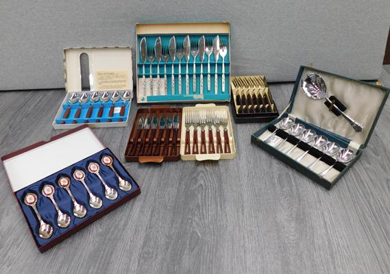 Box of vintage cutlery sets