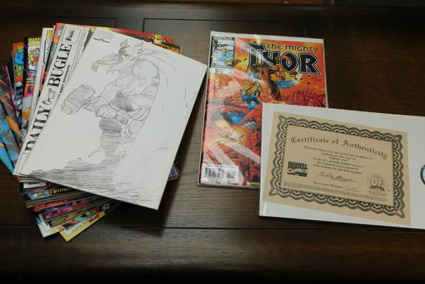 Pack of 21 Marvel Comics including Signed Thor issue. #12 by John Romita Jr and Dan Jurgens Ltd Edition with COA