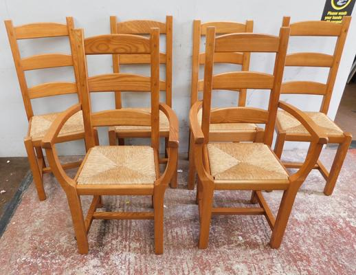 6 x dining chairs - wicker seats - 4 straight & 2 carvers