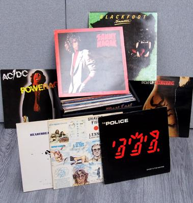 Case of LPs including Rock, Springsteen, Police, AC/DC and Free