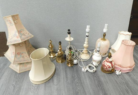 Selection of table lamps and shades