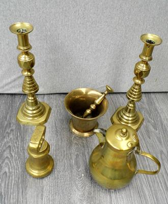 Selection of brass items including Candlesticks, Pestle & mortar
