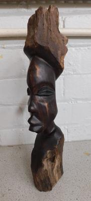 "Wooden carved bust - 16"" tall"