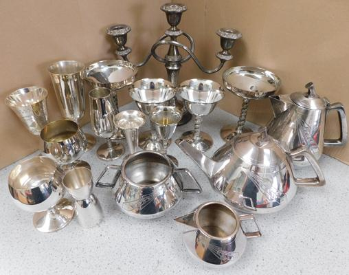 Mixed box of silver plate items