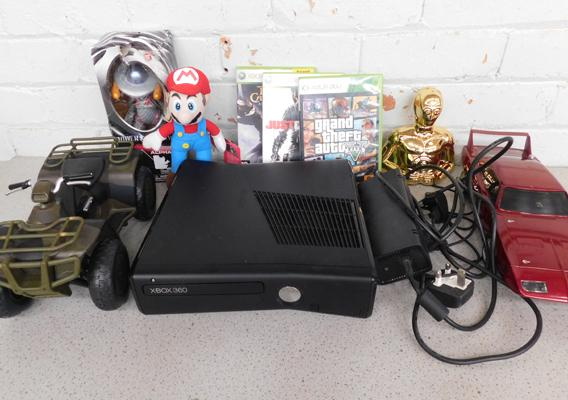 Xbox 360 with 3 games in working order (no controllers) and a collection of toys