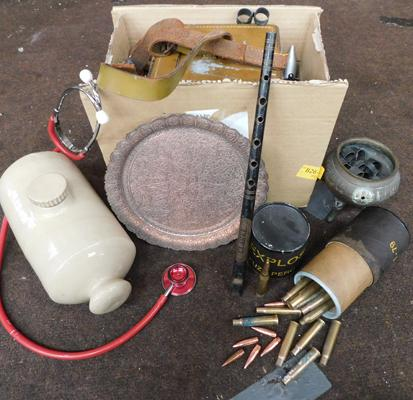 Box of vintage collectables, incl. electrical test meter, military items & others