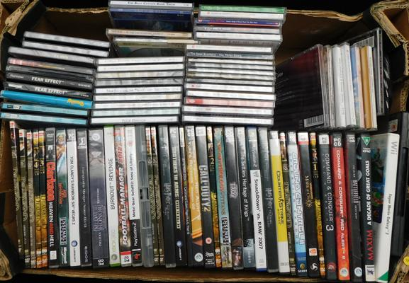 Large box of CDs & video games