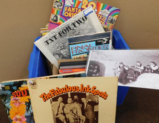 Box of mixed LPs, incl. Jimmy Hendrix DVDs