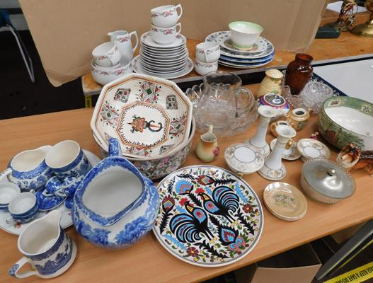 Collection of ceramics, incl. Willow, Wedgwood, Staffordshire pottery