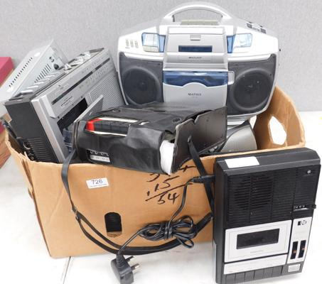 Box of CD and tape players including retro and vintage