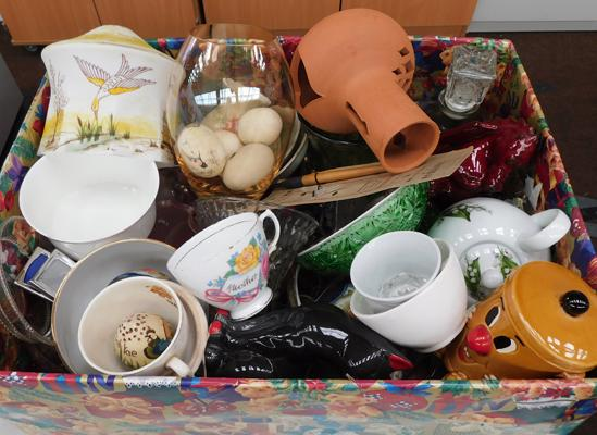 Selection of mixed collectables including painted egg shells and glass lampshade