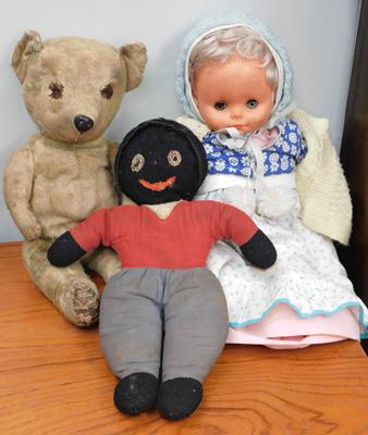 Vintage teddy, golly and doll