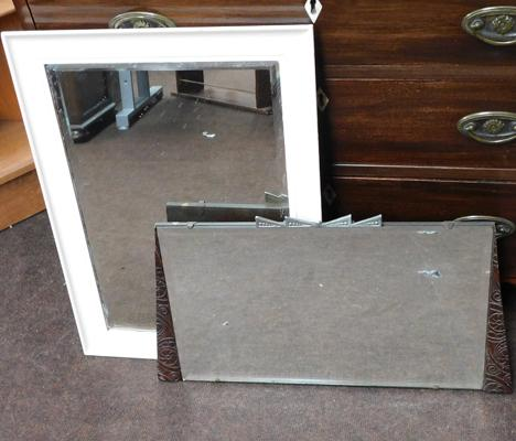 Vintage bevel edged mirror on board frame and framed bevel edge mirror