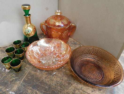 Assortment of amber, carnival and hand painted glass