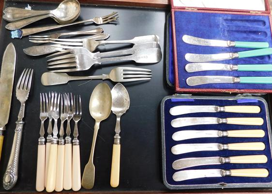 Assortment of silver & silver plated cutlery including; James Deaken & Son, Crown Silver and Polish Silver