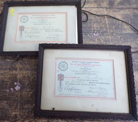 Pair of St Johns Ambulance certificates in vintage frames