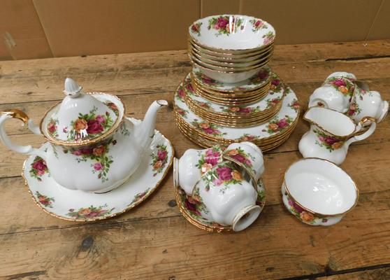 Assortment of Royal Albert Country Rose, no damage found. Mix of firsts and seconds.