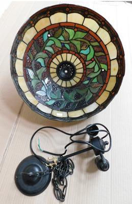 "Tiffany style glass lampshade with fittings-no damage 16"" diameter"