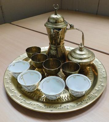 Brass tray and drinking set (1 cup cracked)
