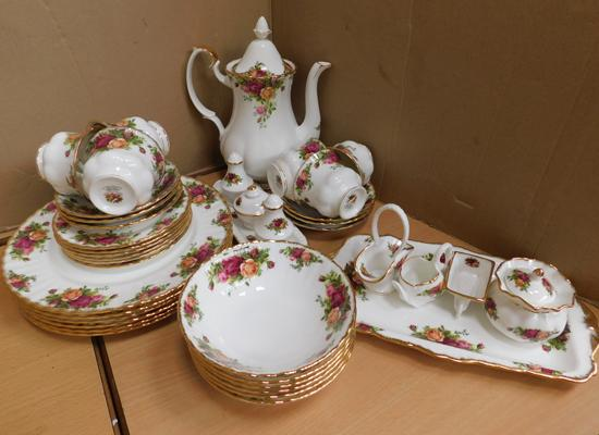 Assortment of Royal Albert Country Rose. No damage found. Mix of firsts and seconds