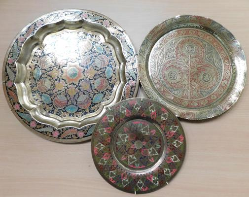 "3 highly decorative brass plates/chargers - largest 15"" diameter"