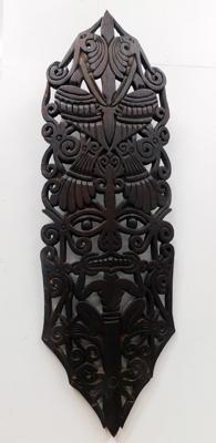 Large wooden carved tribal wall mount, approx. 41 inches
