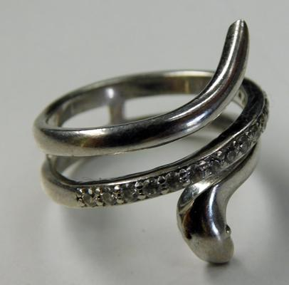 Unusual sterling silver white stone snake ring