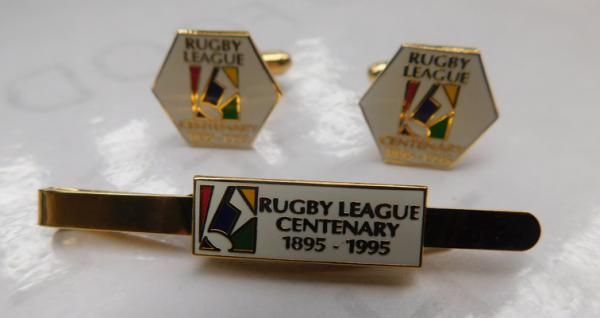1895-1995 Rugby League Centenary cufflinks, tie cup - enamelled