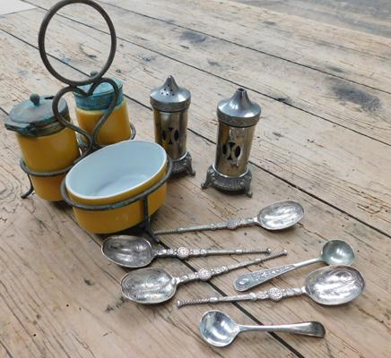 Vintage ceramic cruet set and pewter cruet set (with blue lines) and collection of spoons