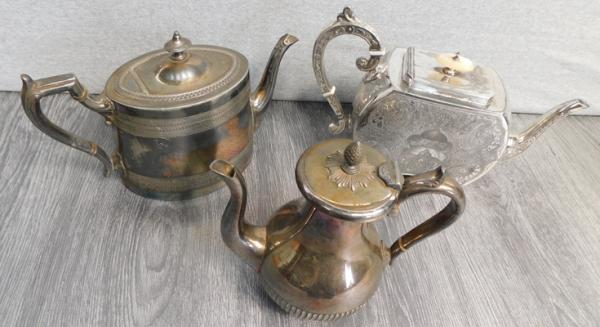 3x Silver plated teapots