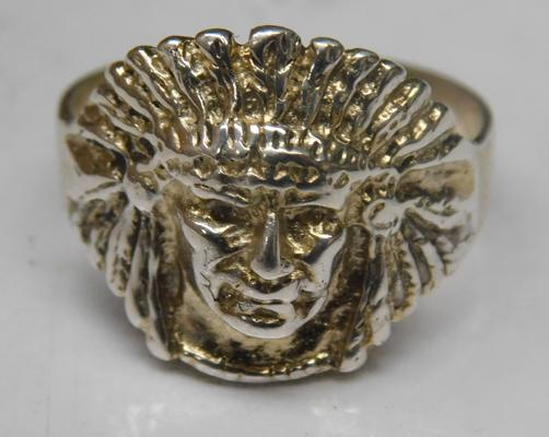 925 solid silver Indian head ring - size U