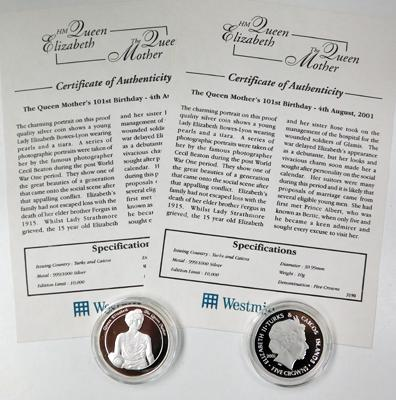 2x Queen Mother 5 crown coins - silver proofs