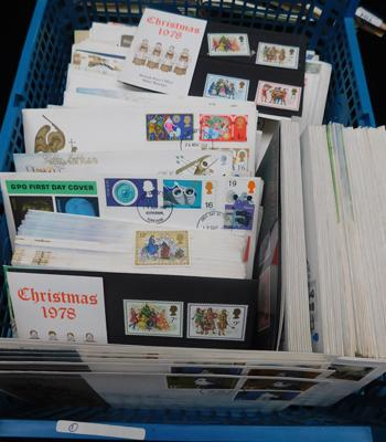 Carton containing 250+ first day covers, presentation packs etc.