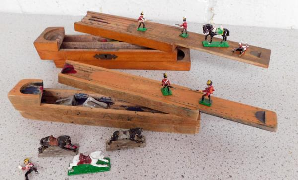 2 x vintage wooden box pencil cases with a collection of lead figures