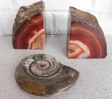 Pair of Geode bookends + 1 other