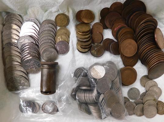 Box of English coins + sixpence holder