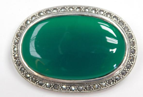 Silver green stone and Marcasite brooch