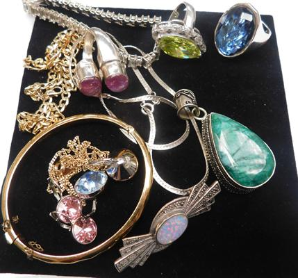 Assortment of gold, silver, Swarovski items