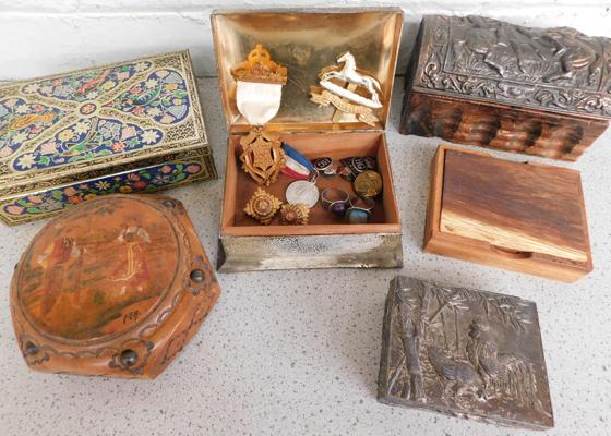 Collection of vintage tins with badges, medals, buttons & rings