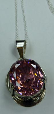 Silver and pink Topaz pendant on silver chain