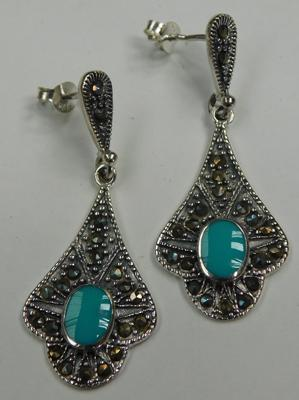 Pair of silver Turquoise and Marcasite earrings