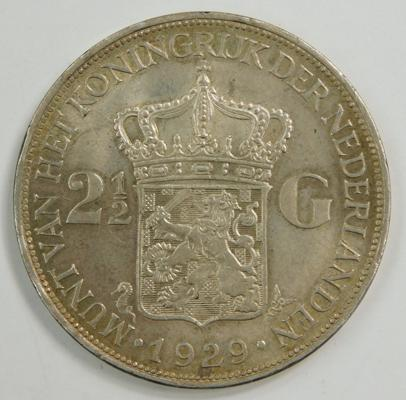 1929 Netherlands silver 2 1/2 Guilders (UNC)