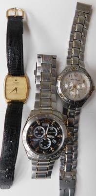 3x Gents watches incl. Citizen and Raymond Weil (chip to face)